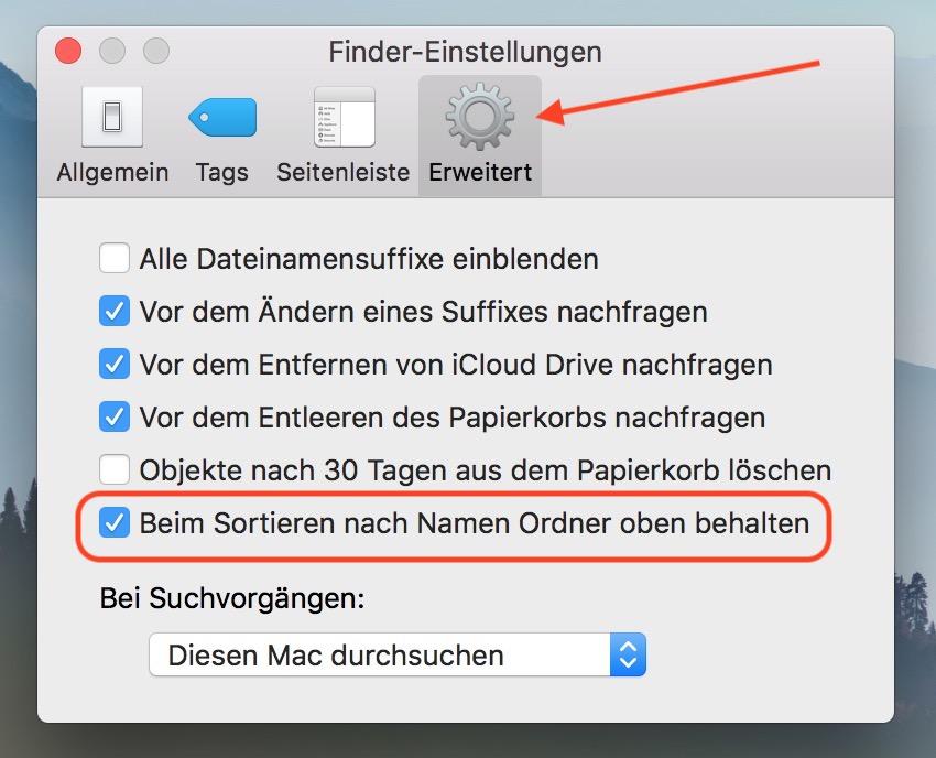 macOS Ordner im Finder oben anzeigen