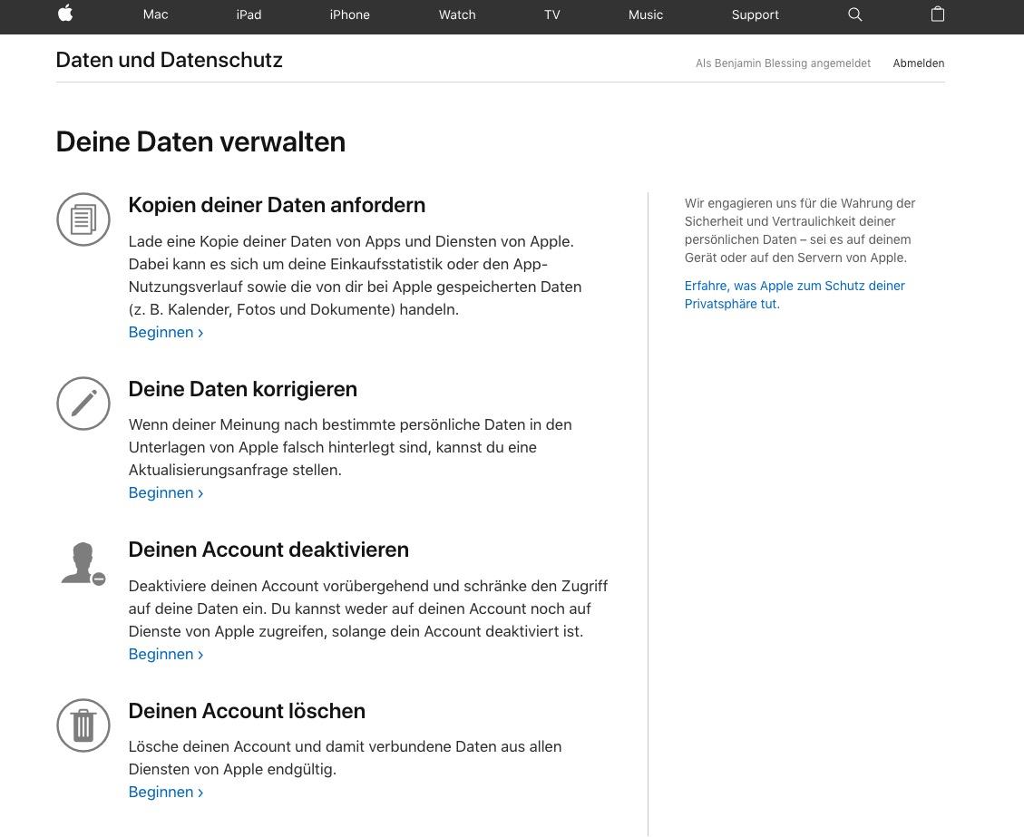 Apple-ID deaktivieren und löschen