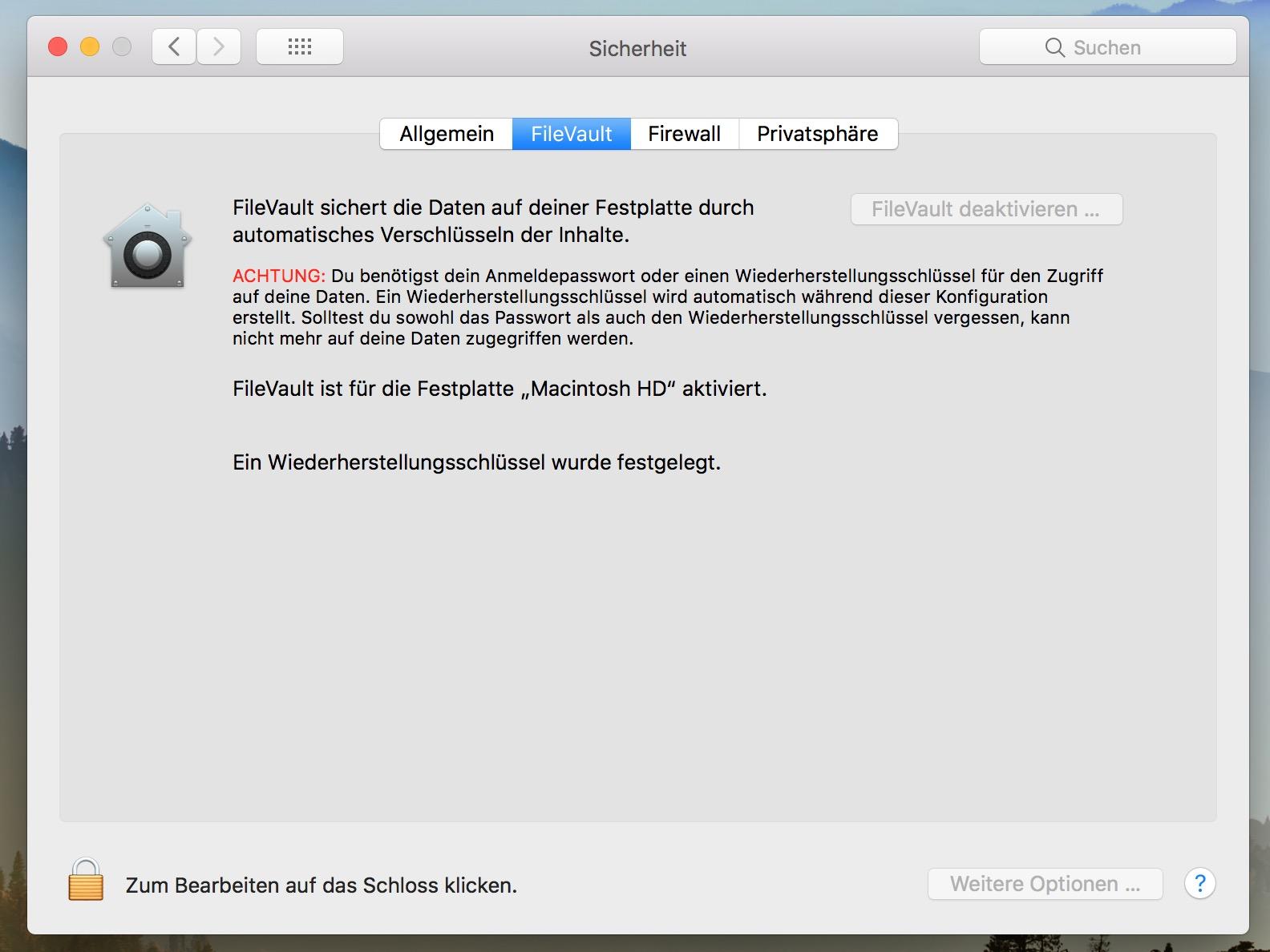 Der macOS FileVault verschlüsselt die Daten auf dem Mac