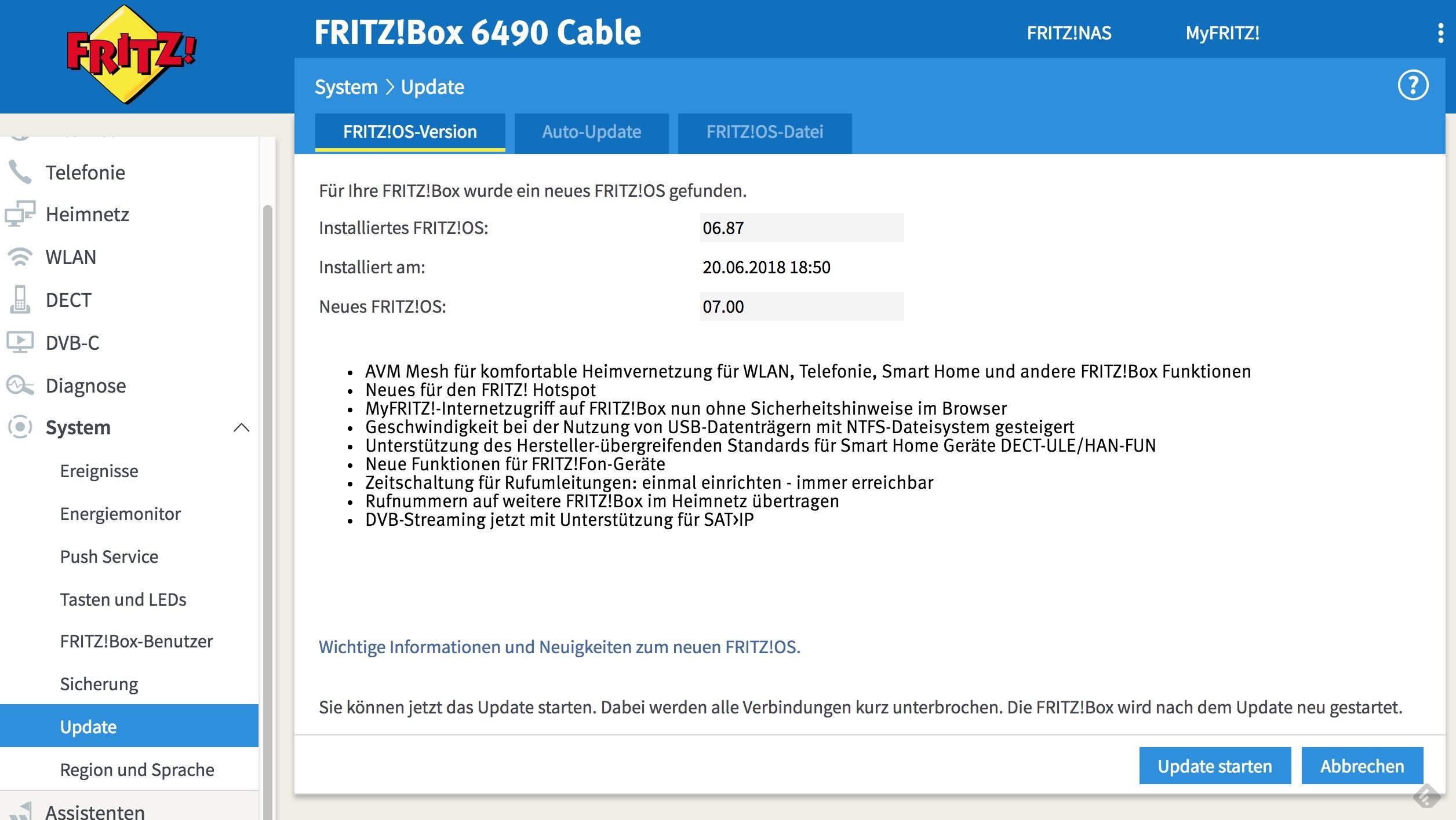 FRITZ!Box 6490 Cable - AVM veröffentlicht FRITZ!OS 7