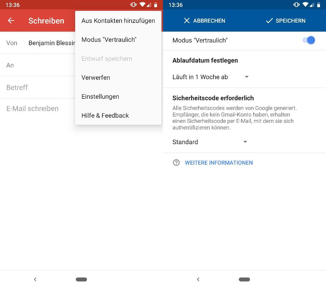 Gmail: Vertrauliche Mails auch mobil senden und empfangen