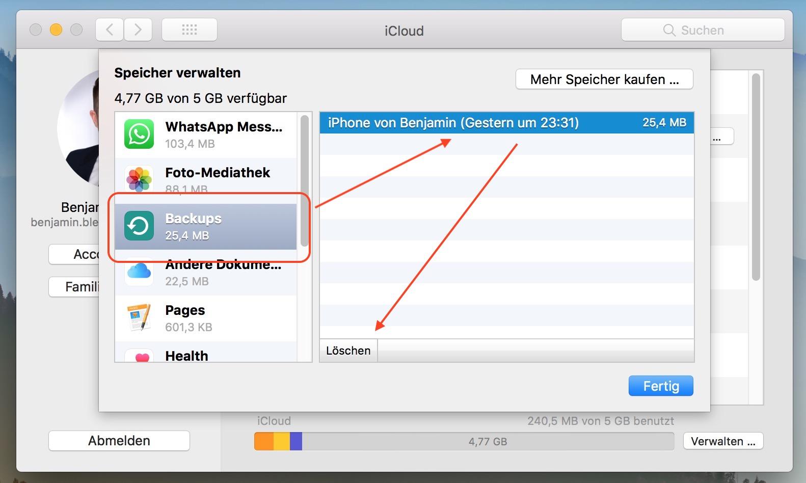 macOS iCloud Backups löschen