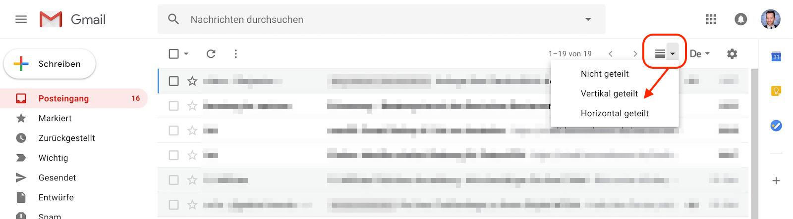 Neues Symbol Fenster teilen/nicht teilen in Gmail