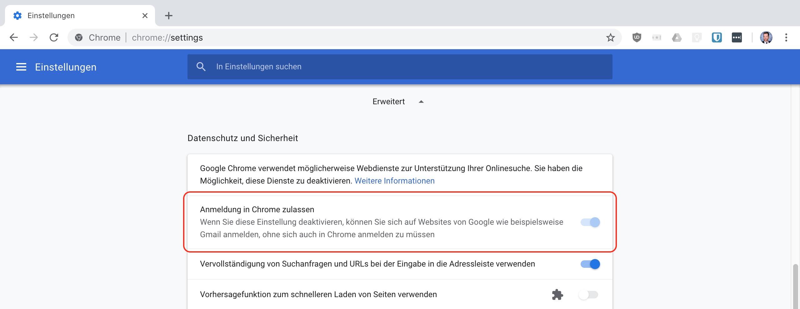 Google Chrome 70 - So deaktivierst du den neuen Anmeldeprozess