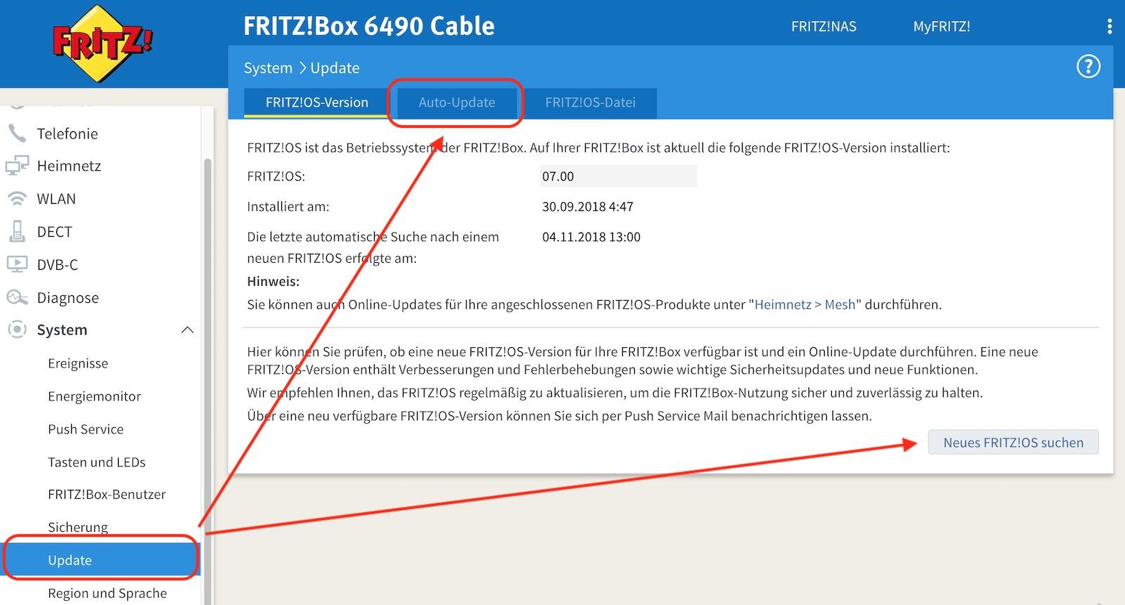FRITZ!Box updaten