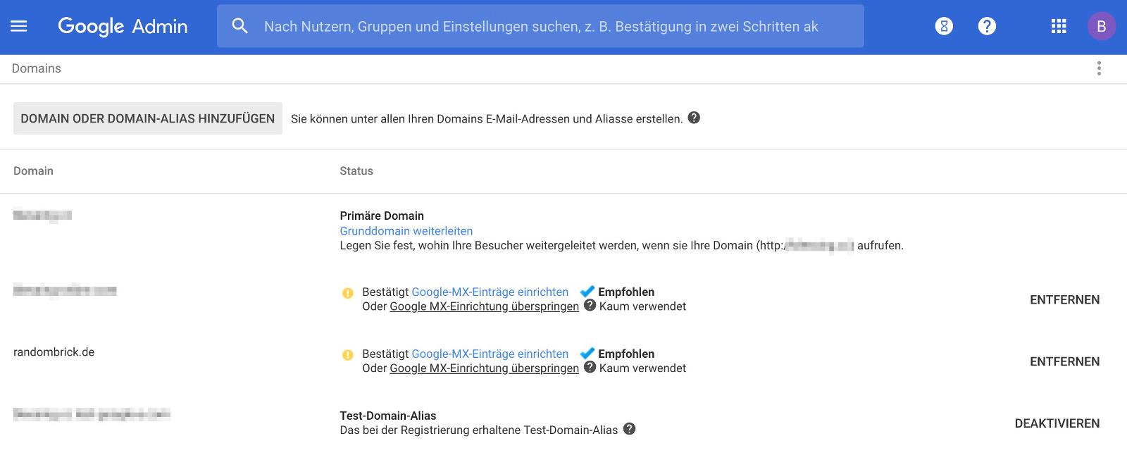 Domain für Gmail einrichten