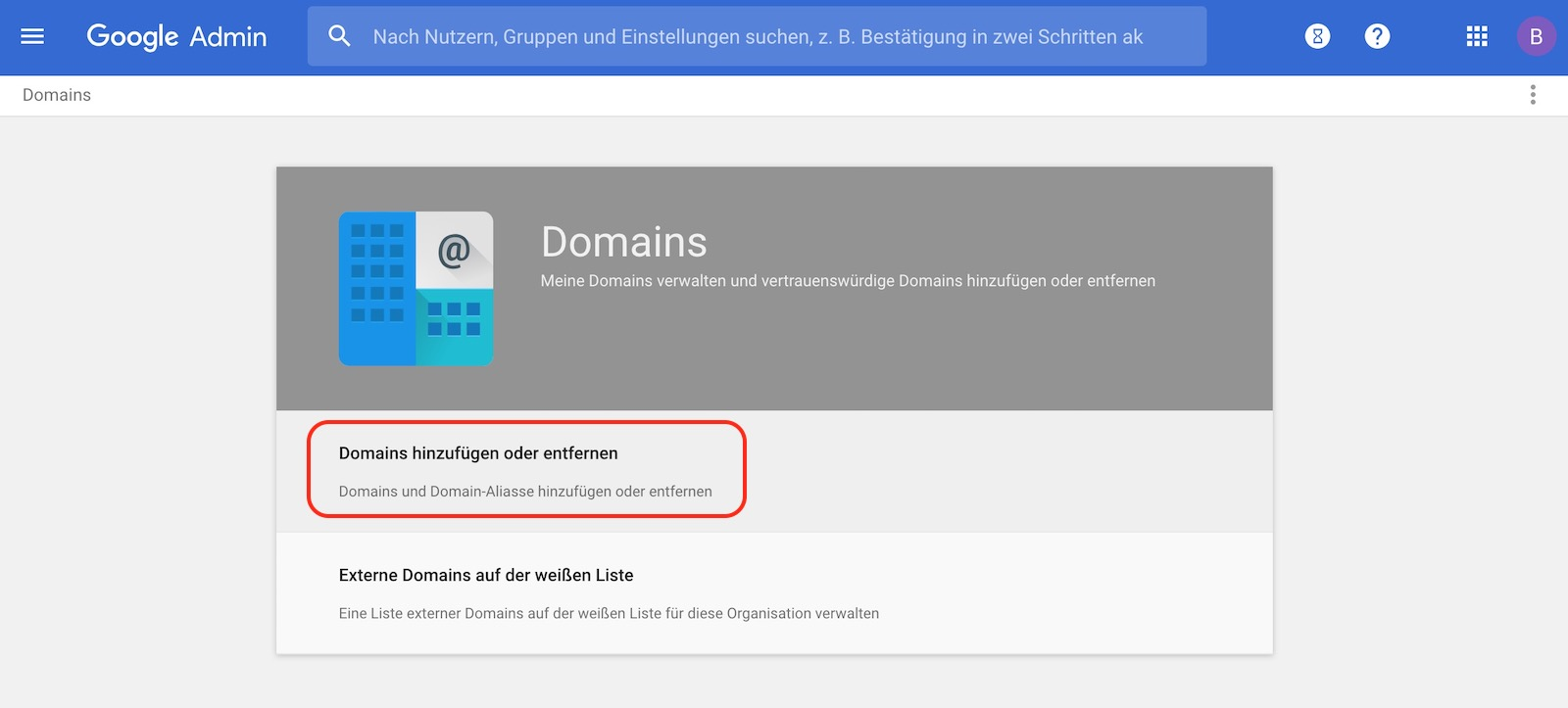 Domain zu G Suite hinzufügen