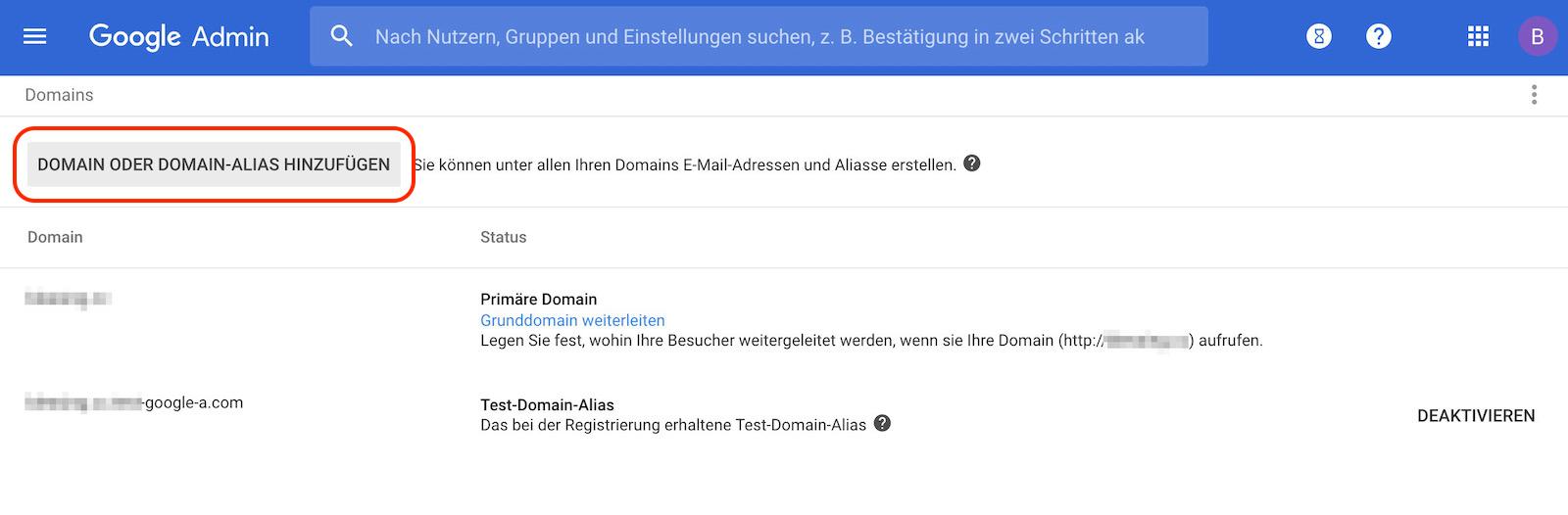 G Suite Domain oder Domain-Alias hinzufügen