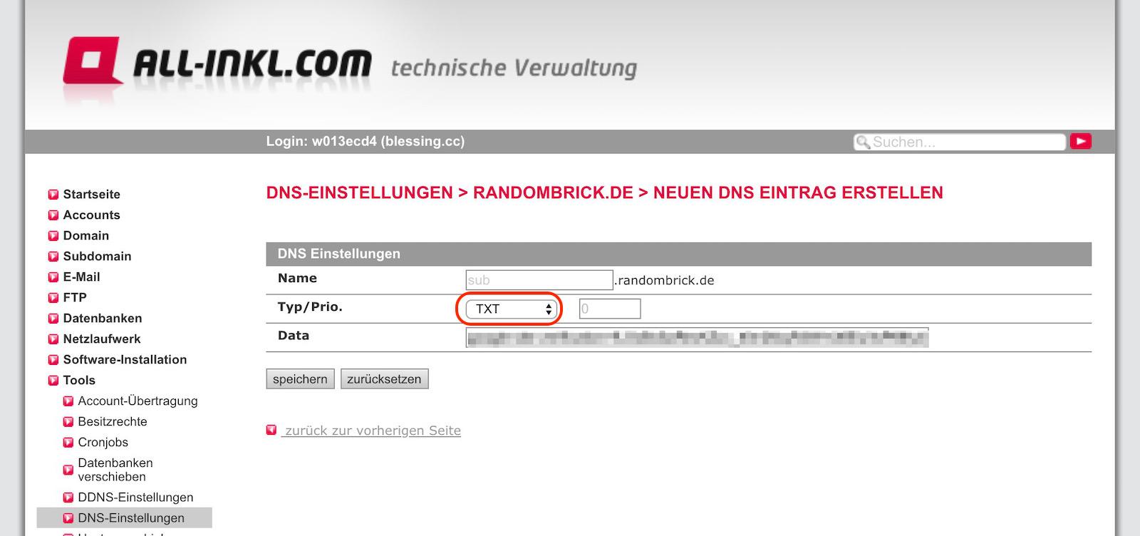 Neue DNS-Eintrag am Beispiel von All-Inkl.com