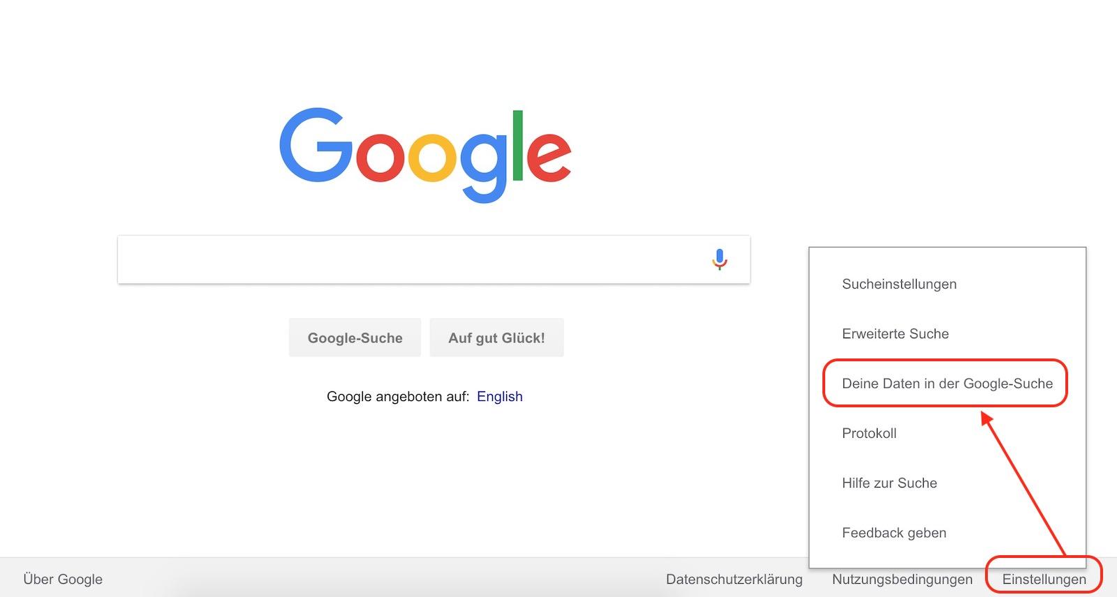 Einstellungen zur Google-Suche