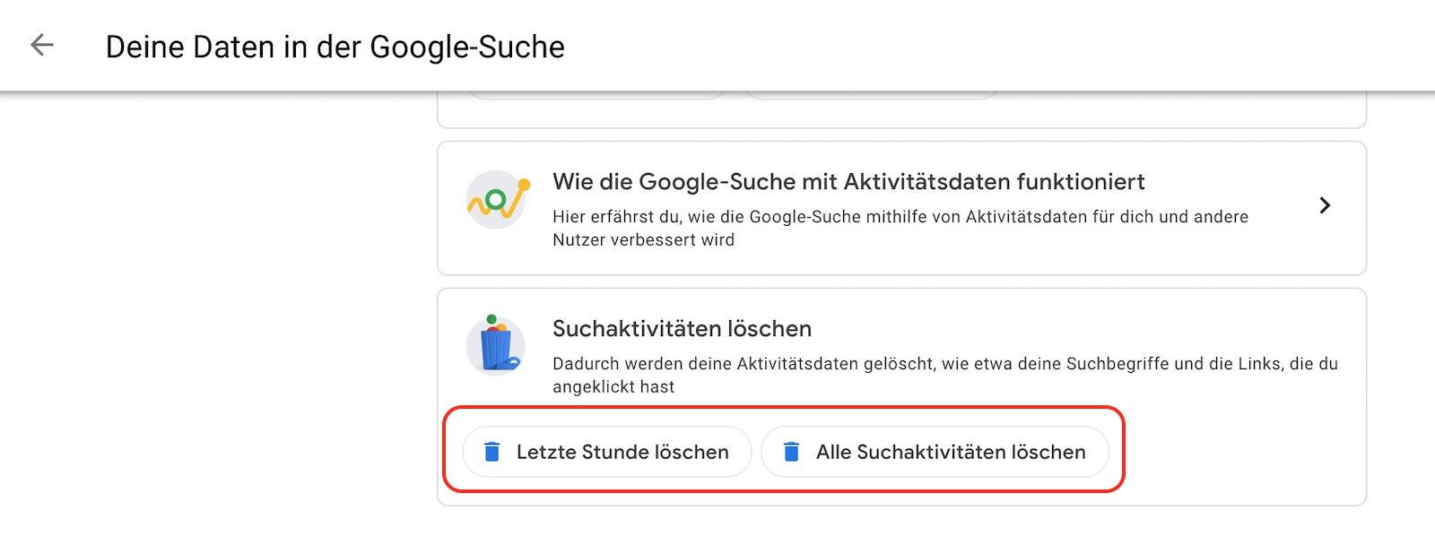 Den Google Sucherverlauf löschen