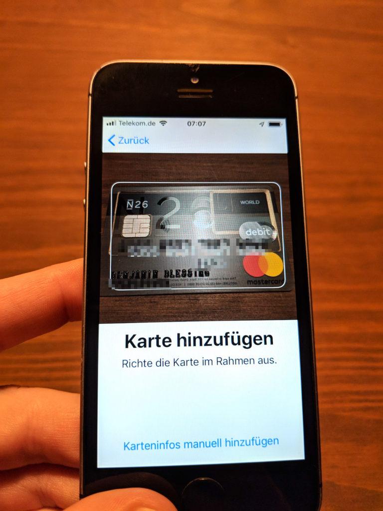 Auswahl der Karte in der Apple Wallet