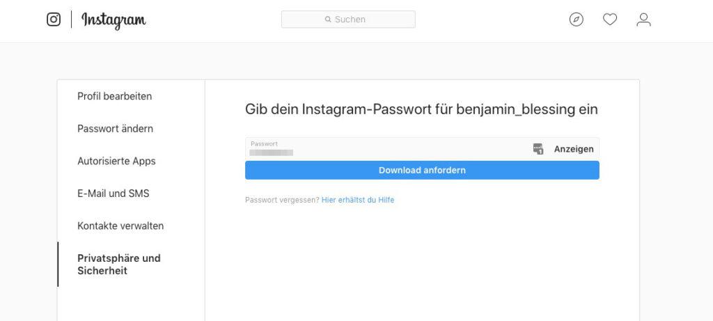 Instagram Bilder und Daten herunterladen