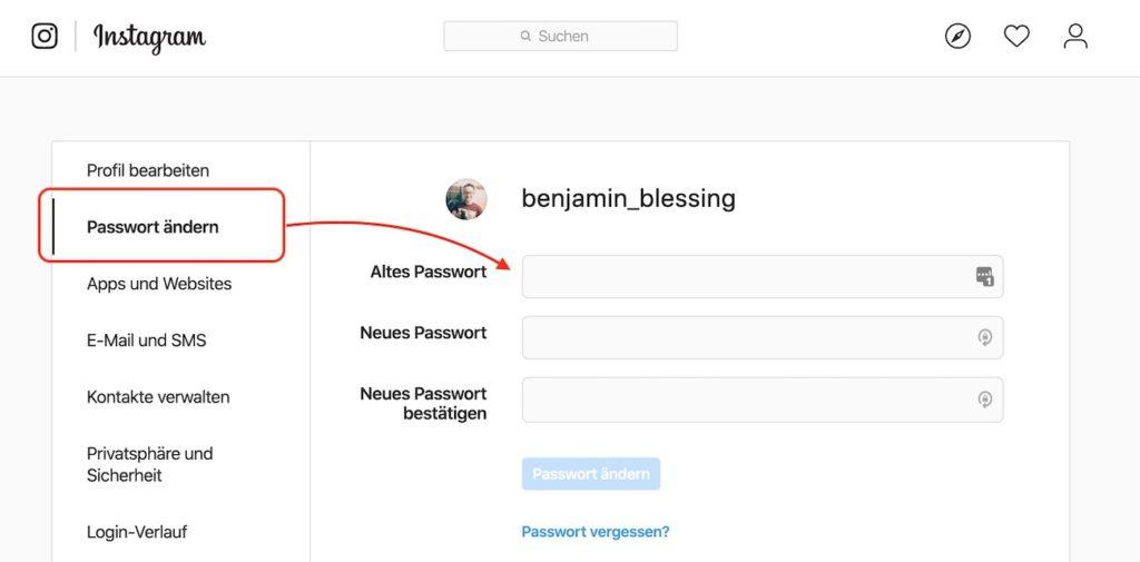 Instagram Passwort im Browser ändern