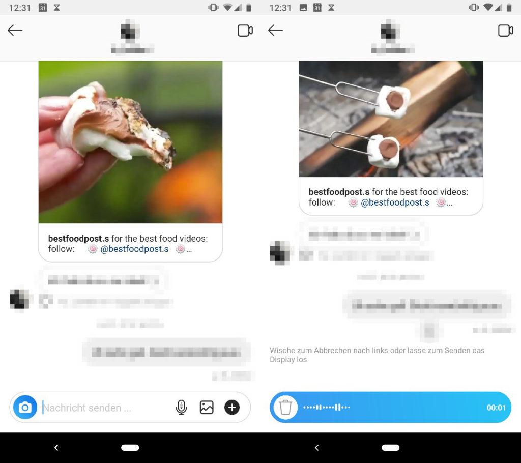 Instagram Sprachnachrichten aufzeichnen