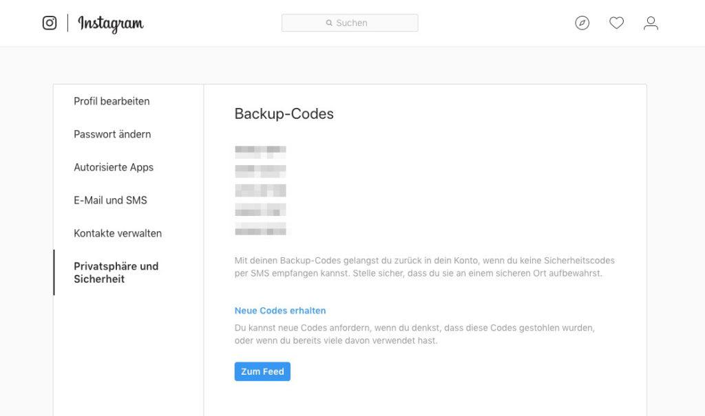 Backup-Codes sicher aufbewahren
