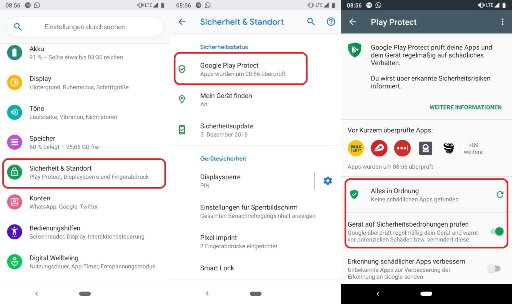 Smartphone mit Google Play Protect scannen