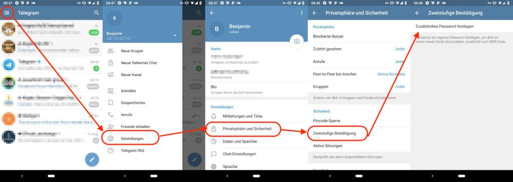 Telegram Zwei-Faktor-Authentifizierung aktivieren