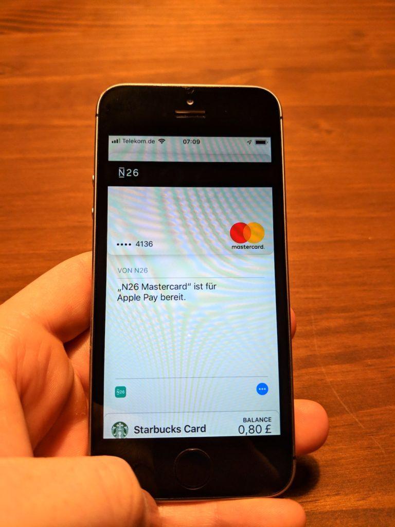 N26 Kreditkarte ist für Apple Pay freigeschaltet