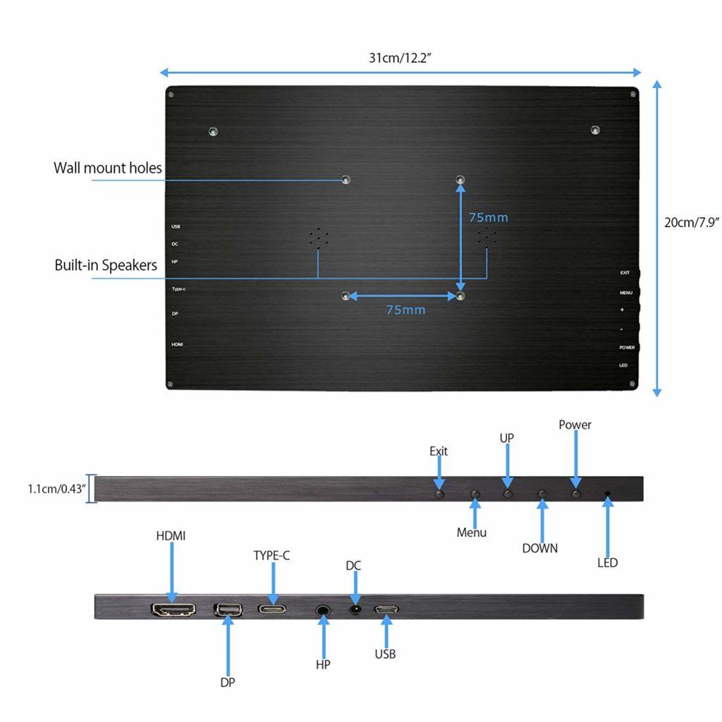 UPERFECT 13,3 Zoll Display Anschlüsse