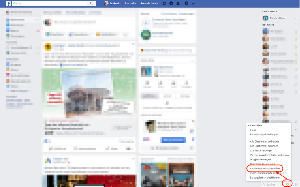 Facebook Messenger Online-Status verbergen im Browser