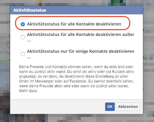 Facebook Messenger Aktivitätsstatus für Freunde wählen