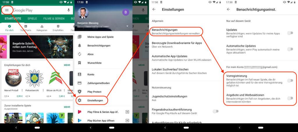Google Play Store - Benachrichtigungen für Angebote und Spiele abstellen