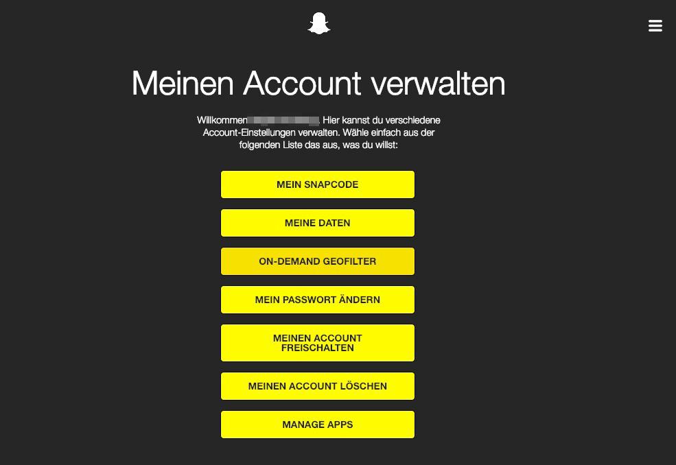 Snapchat Account löschen, Snapchat Konto löschen