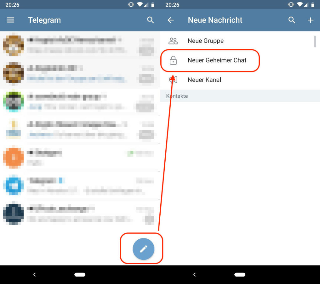 Telegram geheimer Chat erstellen, verschlüsselter Chat