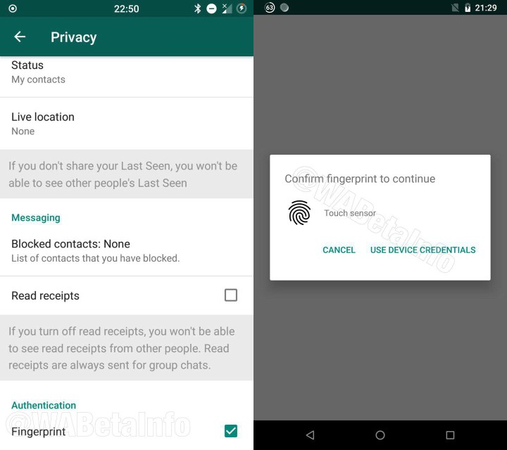 WhatsApp Zugangsschutz Fingerabdruck