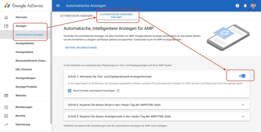 Adsense für Werbung auf AMP-Seiten aktivieren