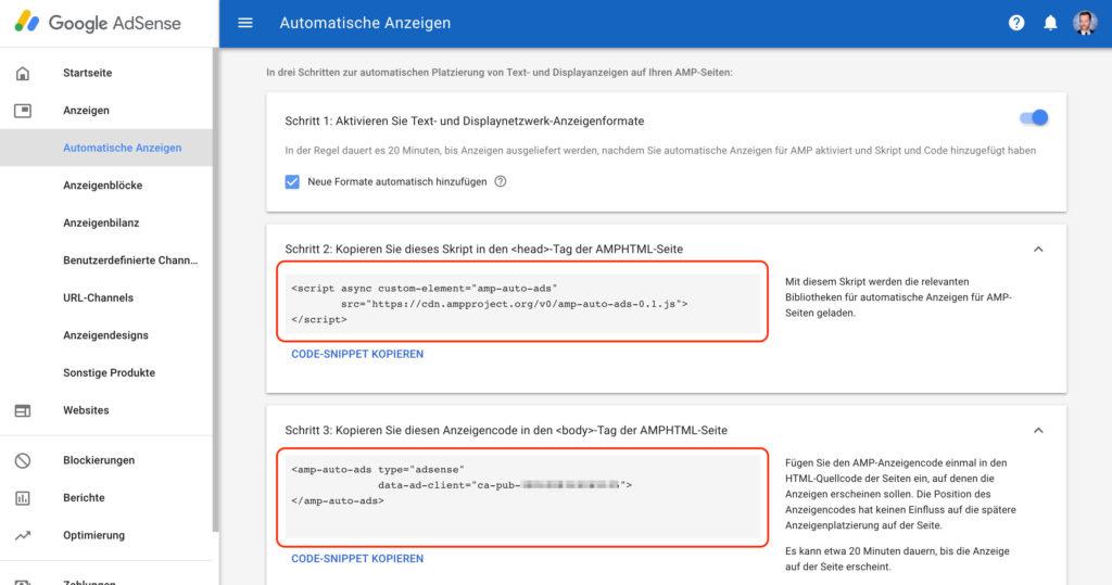 Code für Adsense Werbung auf WordPress AMP Seiten