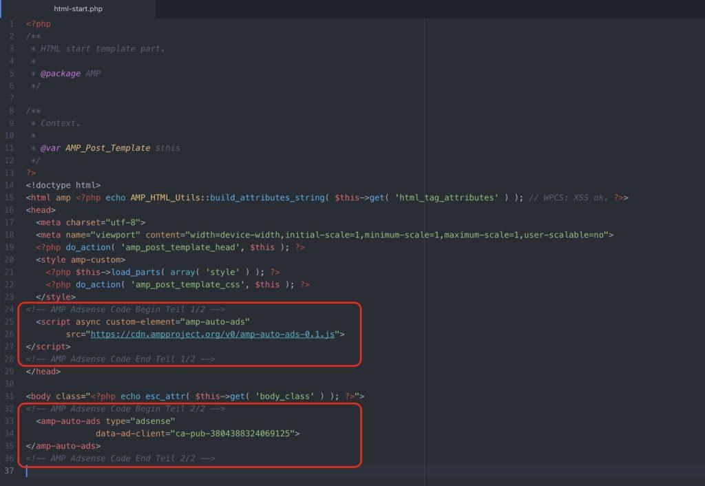Adsense Anzeigecode für WordPress AMP Seiten einfügen