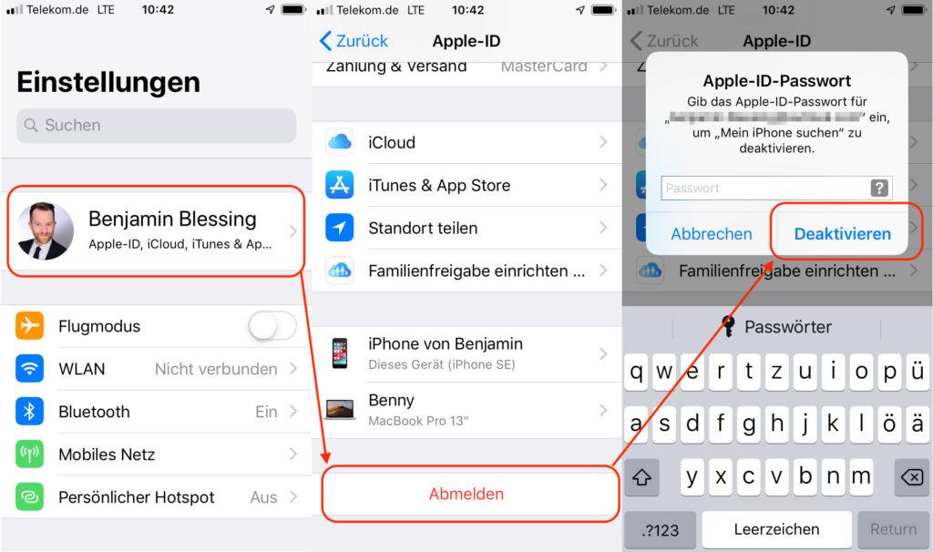Apple-ID vom iPhone oder iPad abmelden