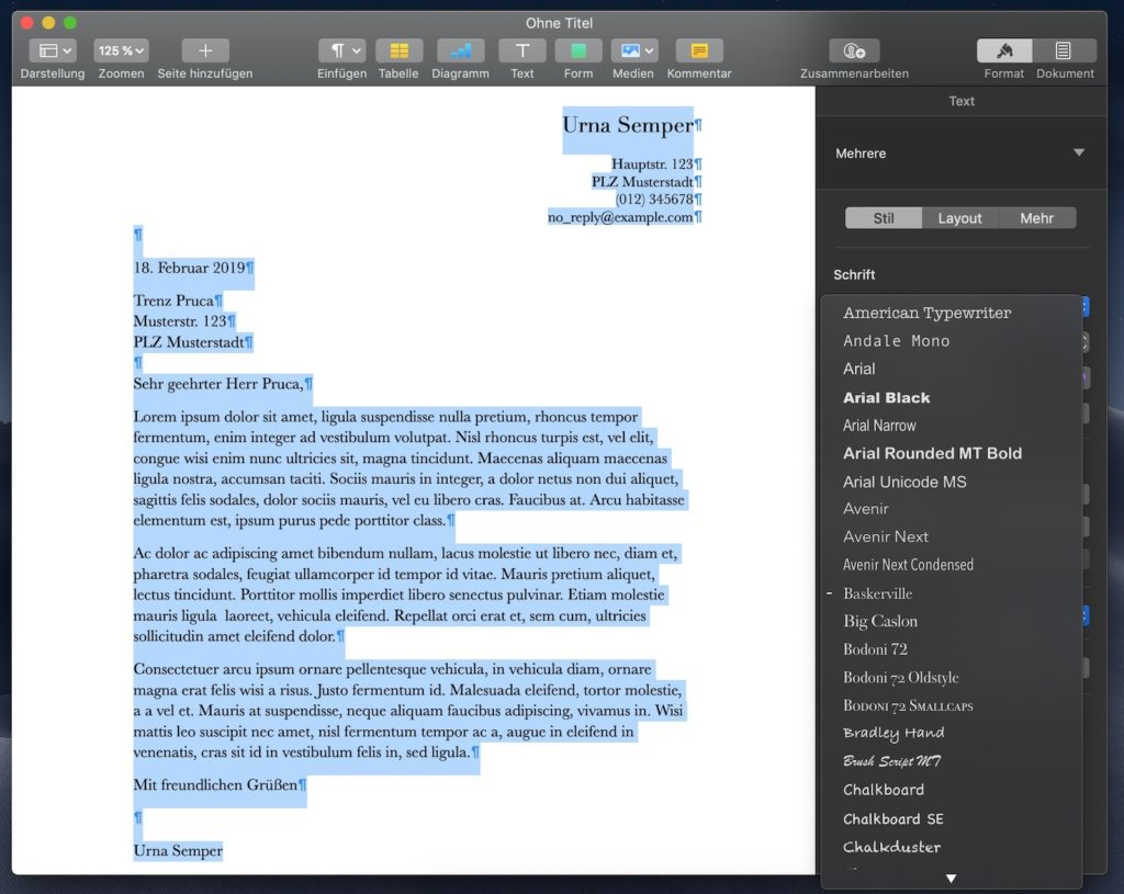 Apple Pages Schriftart anpassen