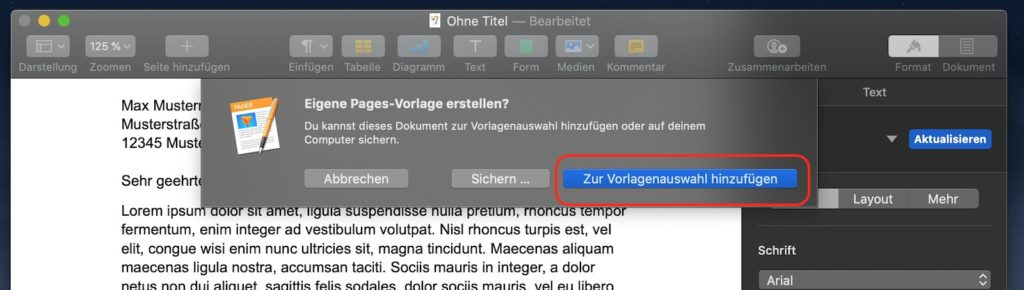 Briefvorlage in Apple Pages speichern