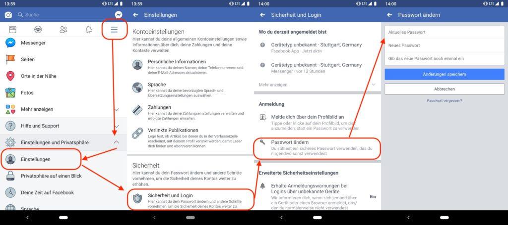 Das Facebook Passwort in der App ändern