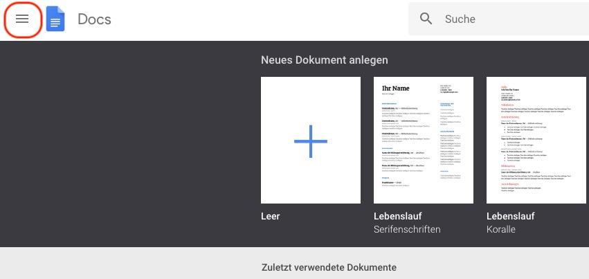 Google Docs Startseite