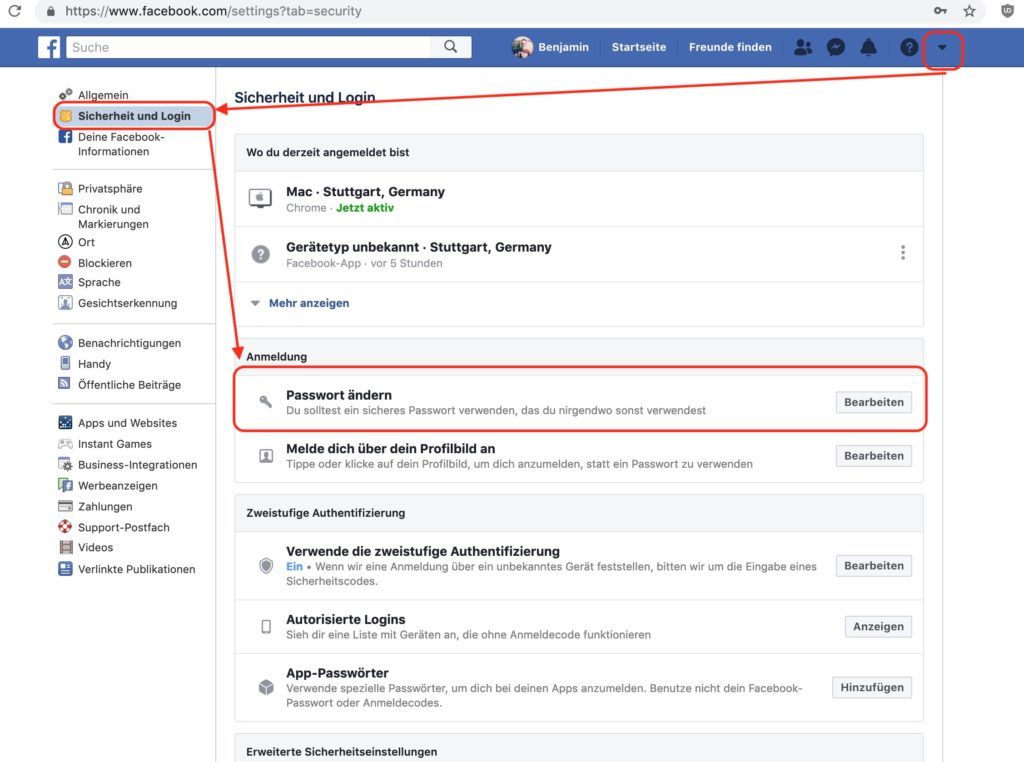 Das Facebook Passwort im Browser ändern