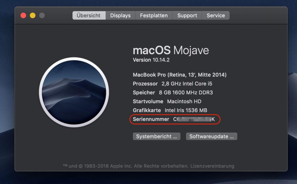 Seriennummer des Mac unter macOS anzeigen