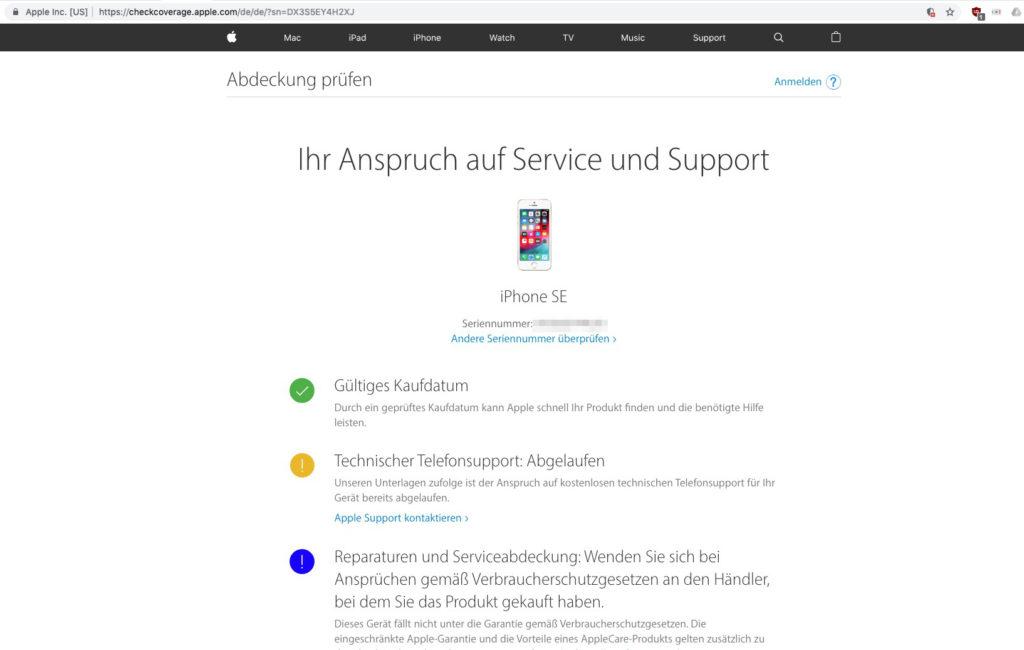 Support für iPhone bei Apple prüfen