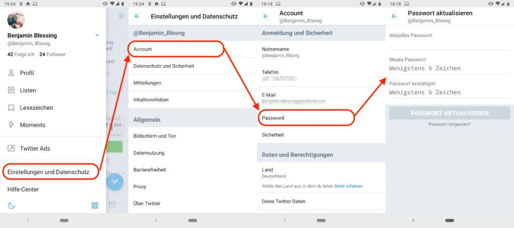 Twitter Passwort in App ändern