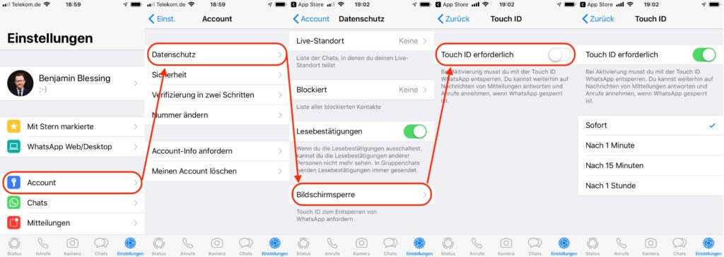 WhatsApp entsperren mit Face ID oder Touch ID jetzt möglich