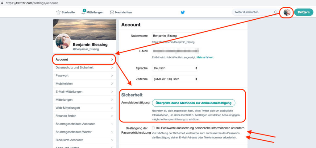 Zwei-Faktor-Authentifizierung für Twitter einschalten