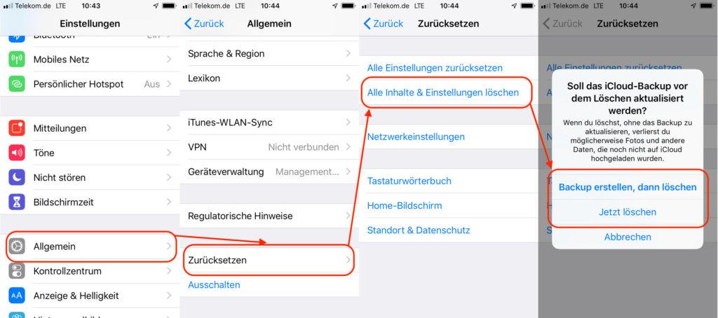 iPhone oder iPad zurücksetzen