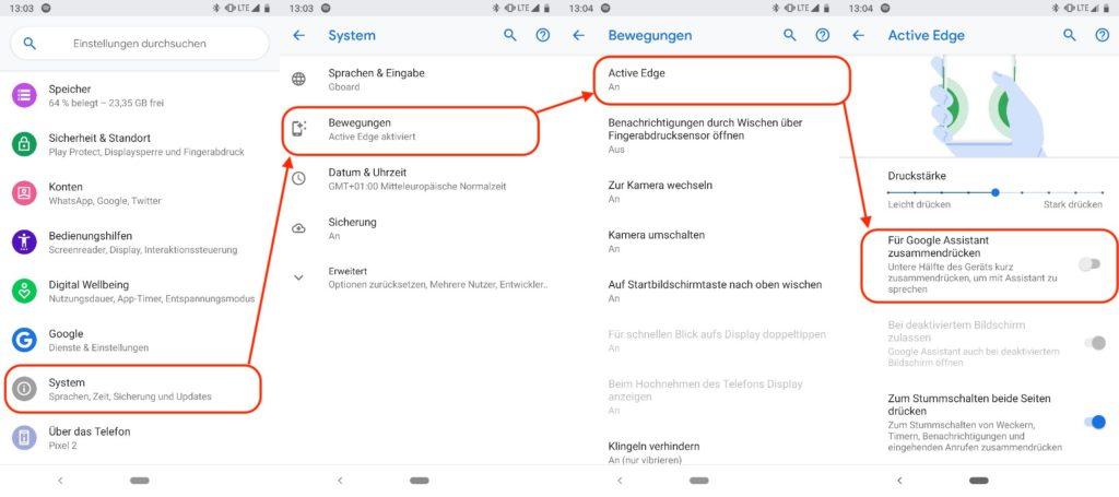 Android Active Edge deaktivieren