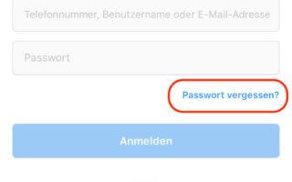 Instagram Passwort zurücksetzen mit dem Benutzernamen