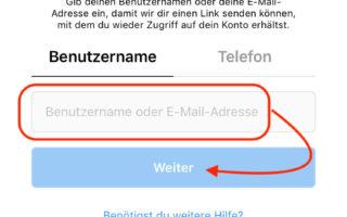 Instagram Passwort zurücksetzen mit der E-Mail Adresse