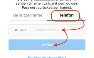 Instagram Passwort zurücksetzen mit der Handynummer
