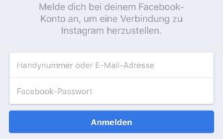 Instagram Passwort zurücksetzen mit dem Facebook-Account